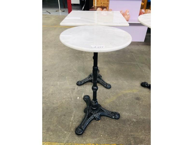 40CM DIAMETER ROUND WHITE MARBLE TOP TABLE INDOOR/OUTDOOR