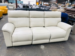 3 SEATER LEATHER LOUNGE ELECTRIC RECLINING - PREMIUM AMIANTO (RRP$3800) - FACTORY SECOND