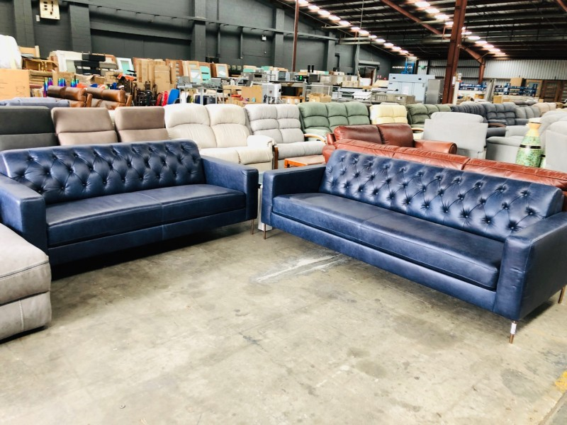 3 + 2.5 SEATER LOUNGE SUITE - PACIFIC BLUE (RRP$4200)