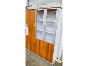 SIGNATURE RANGE BOOKCASE (CHERRY) 1800HX1200WX400D 2 GLASS HINGED DOORS, 1 SOLID HINGED DOOR LHS - #CB077