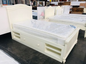 BELLA BED FRAME WITH DRAWERS KING SINGLE (RRP $900)