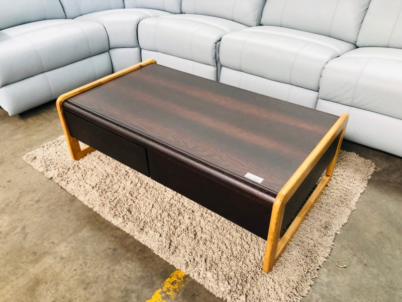 4 DRAWERS COFFEE TABLE IN CHOCOLATE AND BEECH COLOR
