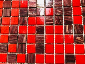 KK920 RED MIX GLASS MOSAIC TILES