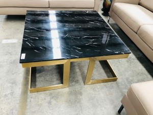 MILAN MARBLE COFFEE TABLE IN BLACK AND GOLD BASE