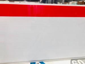 PVC CLADDING 2.8M X 250MM X 8MM RED, WHITE STRIPE (10/BOX) #W-103 SOLD PER PIECE
