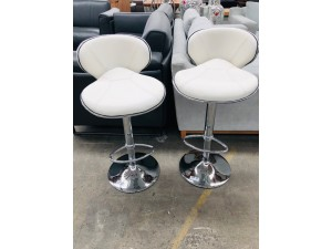 WHITE LEATHER LOOK BAR STOOLS - SOLD AS PAIR