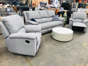 3 SEATER PLUS 2 SINGLE RECLINERS - MENDOZA ASH (RRP$2700)