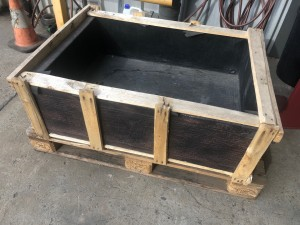 BROWN RECTANGLE CONCRETE WATER FEATURE BOWL