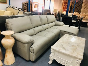 3 SEATER LEATHER LOUNGE WITH CHAISE (RHF) - VILLA OYSTER ($4600)