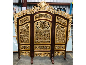 LARGE ORNATE 3 PCE TIMBER DIVIDER/SCREEN