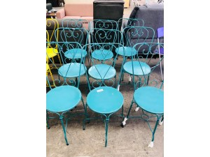 TURQUOISE WROUGHT IRON PATIO CHAIRS