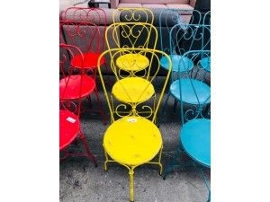 YELLOW WROUGHT IRON PATIO CHAIRS