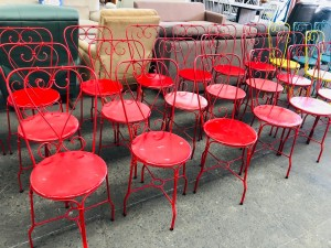 RED WROUGHT IRON PATIO CHAIRS