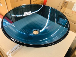 BASIN - ROUND ABOVE COUNTER TRANSLUCENT BLUE GLASS BASIN 420X420X145MM #M-G102 12MM THICK