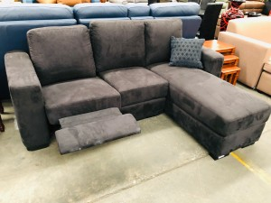 SMALL BLACK L-SHAPE LOUNGE WITH END RECLINER