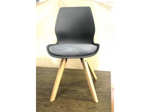 WESTLAKE DINING CHAIR - GREY SEAT WITH NATURAL TIMBER LEGS - NEW (2 CHAIRS PER BOX)