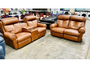 ASHER LEATHER LOUNGE SUITE 2 SEATER (ELECTRIC BACK RECLINING) PLUS 2 SEATER (ELECTRIC RECLINING) & SMART HOME THEATRE CONSOLE -- ANNATA TAN (RRP$8000) 015/016/017-05-08-21 - Factory 2nd