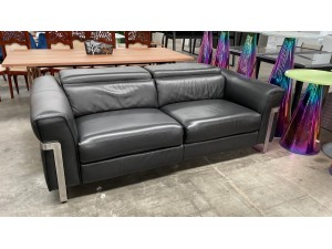 GEO LEATHER 2.5 SEATER LOUNGE ELECTRIC RECLINING - PREMIUM CHARCOAL (RRP$4350) 006-05-08-21 - Factory 2nd