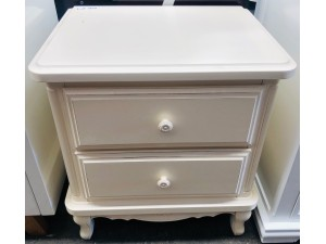 AMORE WHITE 2 DRAWER BEDSIDE CHEST - FACTORY SECOND (BM070-B2)