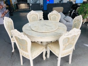ORNATE 7 PIECE DINING SETTING - MARBLE TOP TABLE WITH LAZY SUSAN