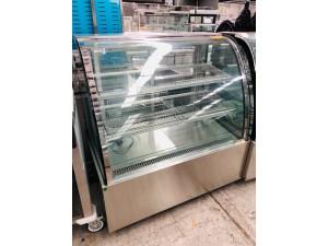 CG120FE-2XB BLACK TRIM CURVED GLASS HOT DISPLAY SHOWCASE WITH 3 SHELVES 1200 X 760 X 1250