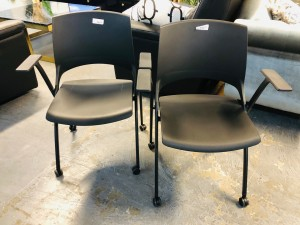 X-CHAIR WITH CASTORS & ARMS - SLIM DESIGN - INTEGRATED FOLDING SEAT FOR SMALL STORAGE FOOTPRINT #D00312E-C-BLK