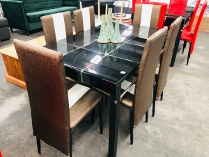 7 PIECE DINING SUITE WITH BLACK GLASS