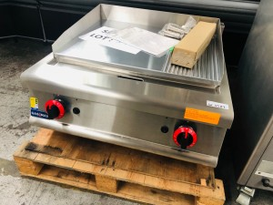 JZH-TRG - GAS GRIDDLE TOP ONLY 700WX800DX250H+60 2/3 FLAT 1/3 GROOVED