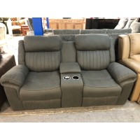 GREY, 2 SEATER RECLINER WITH CONSOLE - BEING FIX AS SIDE BEING LOOSE