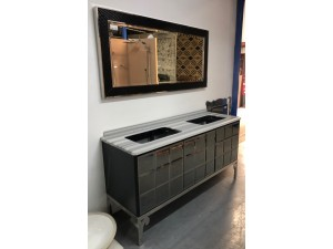 BEVERLY HILLS BLACK GLASS MIRROR DOOR DOUBLE BOWL VANITY WITH BLUE MARBLE TOP - 1650MM - SMALL CHIP ON FRONT OF VANITY