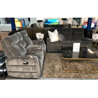 EVENT GREY FABRIC LOUNGE SUITE WITH CONSOLE & CUP HOLDERS 3RR + 2RR + SINGLE ELECTRIC RECLINER WITH VOICE ACTIVATION (AO306-ML-MS-PRH)