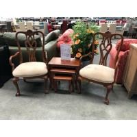 TIMBER OCCASIONAL CHAIR WITH SUEDE FABRIC SEAT & TIMBER ARM REST SOLD AS PAIR