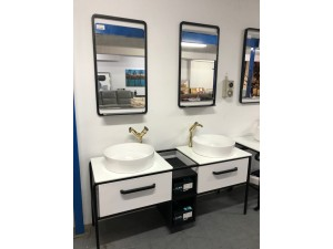 BLACK & WHITE DOUBLE BOWL VANITY WITH 2 MIRRORS & 2 TAPS - 1570MM