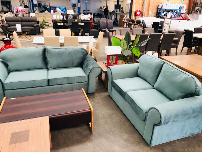 GREEN FABRIC LOUNGE SUITE 2 X 2 SEATERS PLUS 1 X 2.5 SEATER