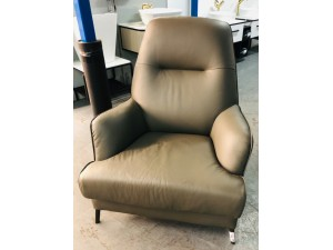 LEATHER WING CHAIR - VILLA STEEL (RRP$1500) FACTORY SECOND (008-13-05-21)#333