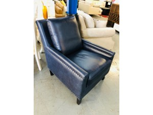 LEATHER CHAIR - SCOTLAND PACIFIC BLUE (RRP$1500) FACTORY SECOND (007-13-05-21)#335