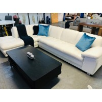 MIA LEATHER 3 SEATER LOUNGE WITH CHAISE - VILLA GLACIER - FACTORY SECOND - LEATHER PEELING (023-024-13-05-21)