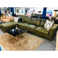 SOLOMON 4 SEATER LEATHER LOUNGE SUITE WITH OTTOMAN - PREMIUM OLIVE (RRP$6800) FACTORY SECOND (003-004-005-006-12-05-21)