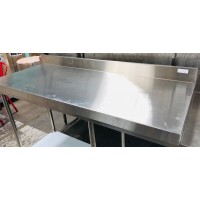 1.5 X 600 S/S BENCH WITH SPLASHBACK AND UNDERSHELF - NO LEGS SOLD AS IS