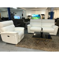 MONDO LEATHER LOUNGE SUITE 2.5 + 1 + 1 ALL ELECTRIC RECLINING OPTIONS - PREMIUM BLANCO (RRP$6900) FACTORY SECOND (020-021-022-13-05-21)