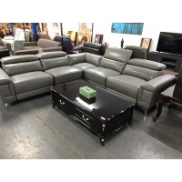 BEHNAM GREY L-SHAPE 50/50 LEATHER LOUNGE ELECTRIC RECLINING (DS6336) (WAITING ON EXTRA PIECE & 2 HEADRESTS)
