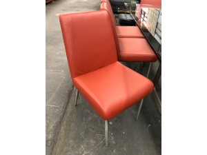 SET OF 8 ALDO LEATHER DINING CHAIRS - VILLA TERRA (RRP$4000) FACTORY SECOND (027-028-029-030-031-032-033-034-13-5-21)