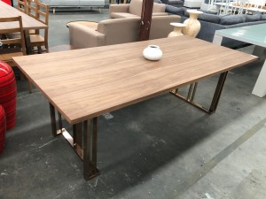 MILAN 2.2M DINING TABLE TIMBER VENEER TOP WITH GOLD BASE