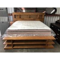 MANHATTAN KING BED WITH SHELVES AT FOOT + 1 BEDSIDE - FACTORY SECOND - DAMAGE TO BED END (BA276-AKX-B)