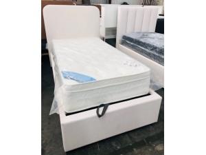 DUKE SINGLE GAS LIFT BED - WHITE FABRIC - BOTH ON THE FLOOR