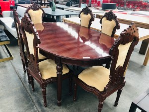 OVAL 7 PIECE TIMBER DINING SUITE