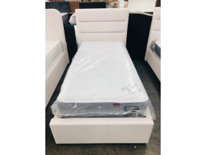 HARVARD SINGLE BED - WHITE FABRIC BEDHEAD WITH UNDERDRAWERS - ALL ON FLOOR - SOLD AS IS