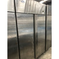 STAINLESS 2 DOOR UPRIGHT FREEZER USED SOLD AS IS - IN WORKING CONDITIONS