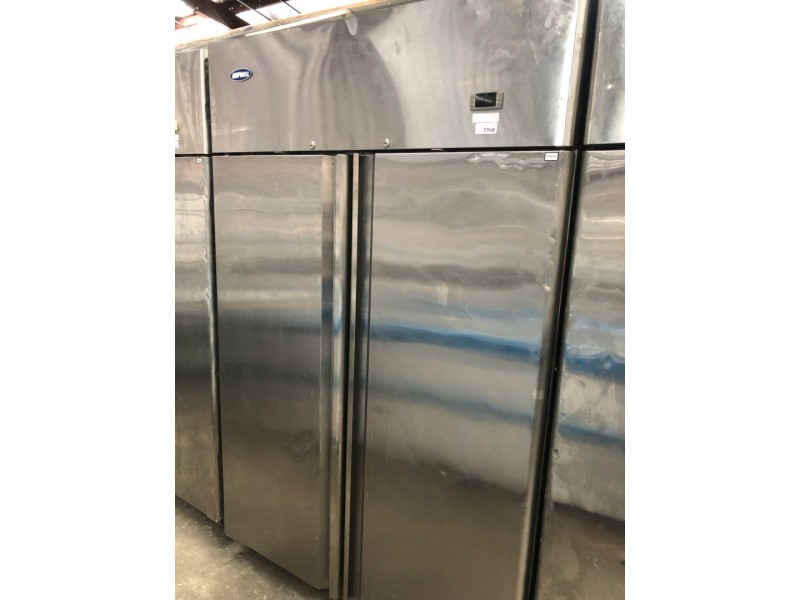 STAINLESS 2 DOOR UPRIGHT FRIDGE USED SOLD AS IS - IN WORKING CONDITIONS