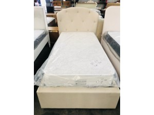 MILAN SINGLE BED CREAM FABRIC WITH END DRAWER